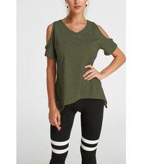 army green cold shoulder irregular hem t-shirt