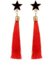 aretes rojos estrellas negras sasmon ar-11253