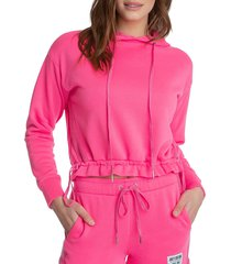 juicy couture women's cropped hoodie - laser pink - size xs