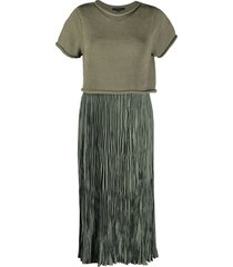 allsaints crinkle utility dress - green