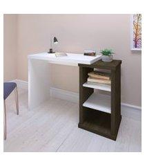 mesa escrivaninha 2 prateleiras artany wood home office charuto/branco