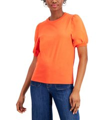 french connection juniors' cotton puff-sleeve top