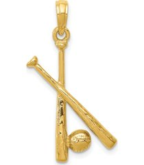 baseball bat and ball pendant in 14k yellow gold