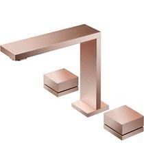 misturador para lavatório de mesa bica alta mínima cobre escovado