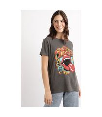 t-shirt feminina de banda mindset the rolling stones manga curta decote redondo chumbo