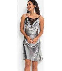 glanzende jurk met watervalhals