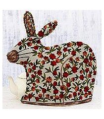 chain stitched wool tea cozy, 'hopping rabbit' (india)