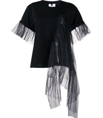 alchemy draped tulle panelled t-shirt - black