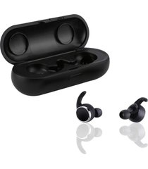 mini audífonos bluetooth estéreo con mic y caja de carga - negro