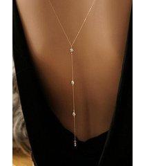 collar de cadena de cristal dorado