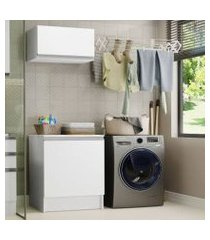 kit área de serviço madesa topazio 60 cm com armário e balcão branco branco