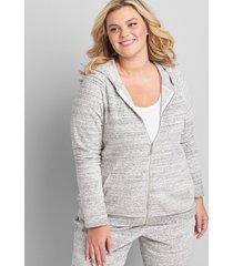 lane bryant women's livi zip-front velour hoodie 18/20 ivory