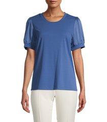 karl lagerfeld paris women's puff-sleeve top - dutch blue - size xs