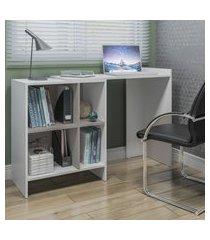 mesa office multifuncional com divisórias multimóveis branco /lacca fume