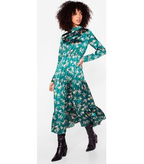 womens nothing bud a goodtime floral maxi dress - dark green