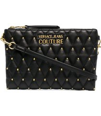 versace jeans couture quilted leather clutch bag - black