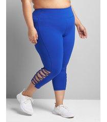 lane bryant women's livi high-rise wicking capri legging - strappy hem 38/40 blue