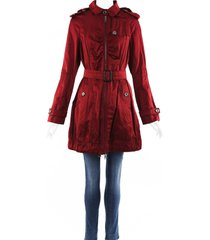 burberry hooded belted trench jacket red sz: l