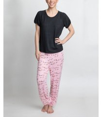 muk luks t-shirt & printed pants pajama set