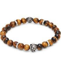 saks fifth avenue men's sterling silver & tiger's eye beaded bracelet