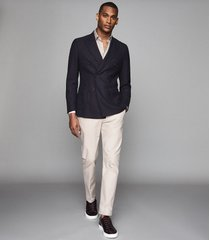 reiss pensylvania - wool double breasted blazer in navy, mens, size 48