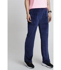 calça feminina esportiva ace em plush azul marinho