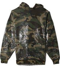 camo sequined hoodie in camo sequin