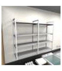 prateleira industrial lavanderia aço branco 120x30x98cm cxlxa mdf cinza modelo ind42clav