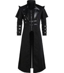 buckle strap back slit button up faux twinset coat
