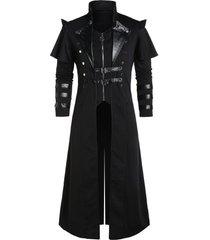 buckle strap back slit zip up faux twinset coat