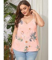 yoins plus camiseta con tirantes finos con estampado floral al azar y cuello en v