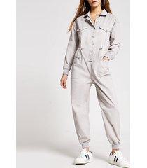 river island womens petite grey drawstring denim boiler jumpsuit