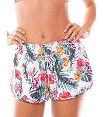 saída de praia shorts com ilhós flor tropical - kanui