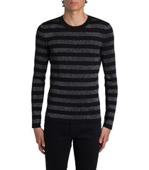 saint laurent long sleeve tee with silver lurex striped motif