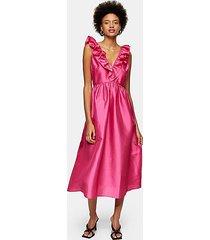 hot pink taffeta bow back midi dress - pink