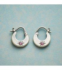 garnet starburst hoop earrings