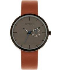 simplify quartz the 3900 genuine brown leather watch 40mm