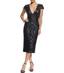 women's dress the population allison sequin brocade plunging v-neck cocktail sheath, size xx-small - black