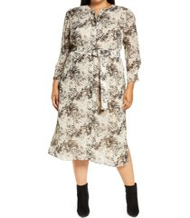 plus size women's lafayette 148 new york neilson belted long sleeve midi dress, size 3x - beige