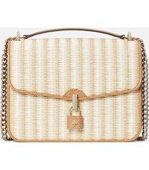 kate spade new york women's locket straw large flap shoulder bag - natural