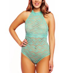 women's clarisa one piece plus size stretch lace halter teddy