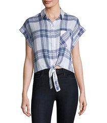 amelie front-tie plaid shirt