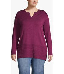 lane bryant women's notch-neck sweater with pointelle hem 14/16 purple potion