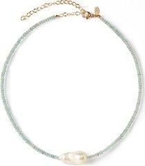 aquamarine single baroque pearl gemstone necklace