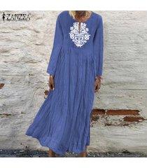 zanzea de mujeres con cuello en v casual impresión floral larga camisa de vestir de gran tamaño kaftan vestido a media pierna -azul