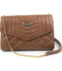 bolsa de couro transversal de corrente hamish  matelass㪠marrom caramelo hb656 - caramelo - feminino - dafiti