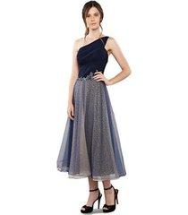 vestido maxi izadora lima brand midi em tule sobreposto em lurex feminino