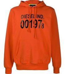 diesel logo print relaxed fit hoodie - orange