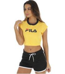 blusa cropped fila pia - feminina - amarelo/azul escuro