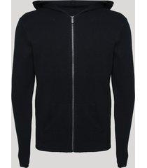 blusão de tricô masculino slim com bolsos e capuz preto